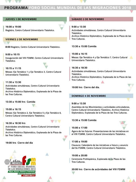 Program of the 8th. World Social Forum on Migrations